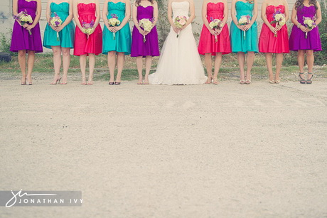 Multi colored bridesmaid dresses for Bright colored wedding dresses