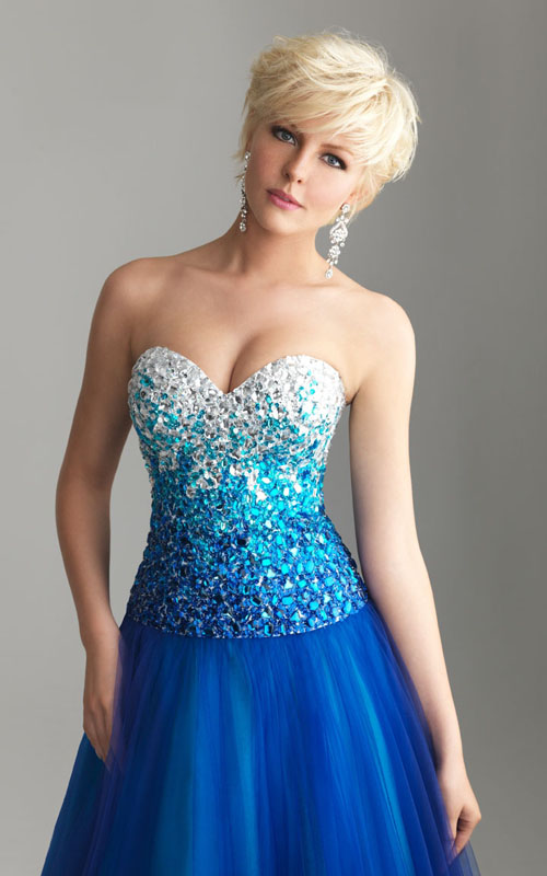 Strapless Night Moves 6600 Royal Blue Ombre Beaded Prom Dress