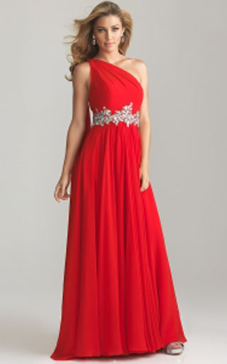 2013 Hot Sale Night Moves 6758 Red One-shoulder Prom Dress