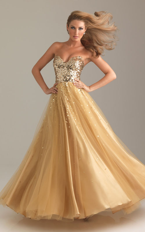 Gold Night Moves 6499 Long Sparkly Prom Dress for Cheap