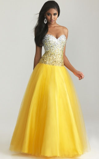 Night Moves 6600 Yellow Ombre Beaded Strapless Ball Gown