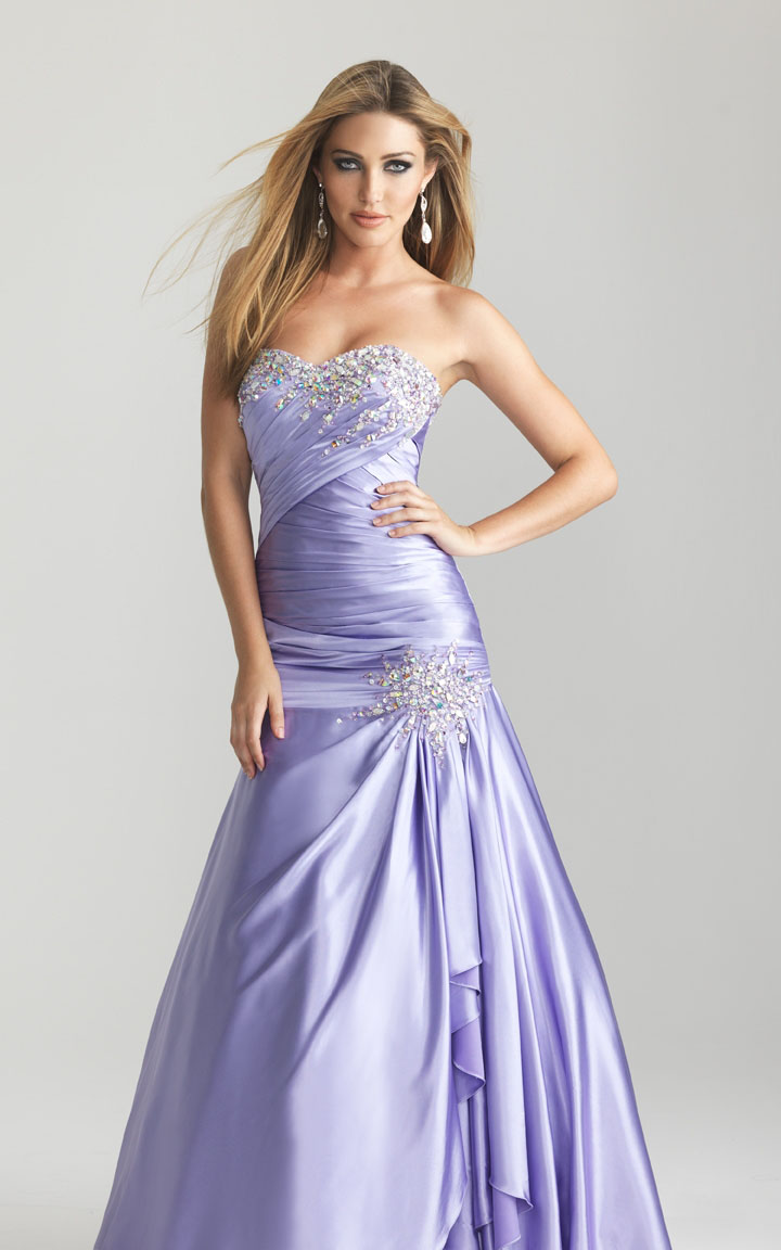 Night Moves 6659 Lavender Crystal Ruched Beads Prom Dress