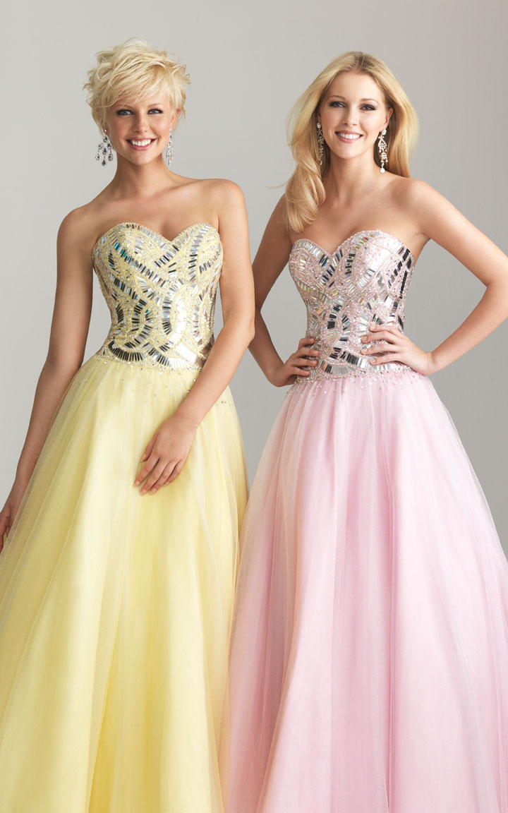 Pink/Yellow Night Moves 6629 Sequin A-line Strapless Ball Gown