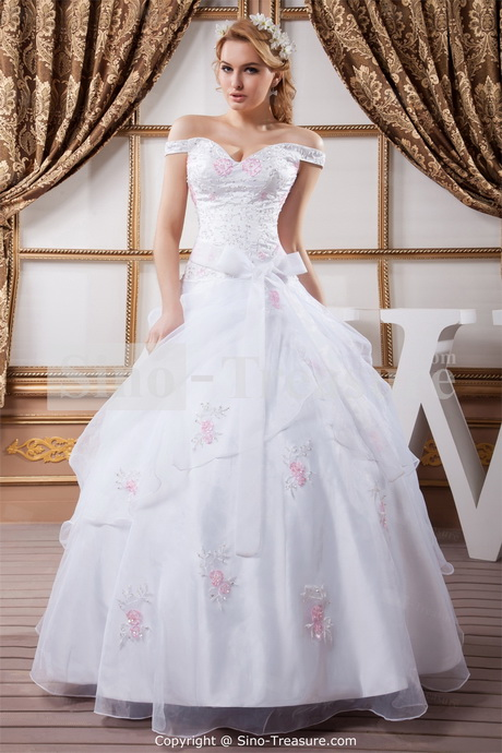 Off white wedding gowns for White off the shoulder wedding dress