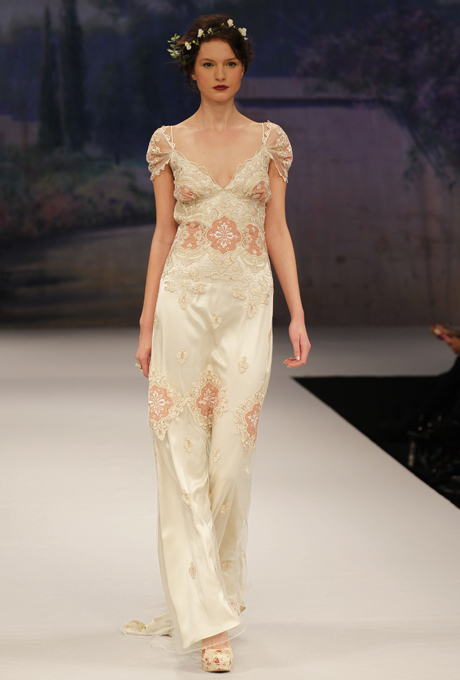 Edwardian inspired, capped sleeve, coloured Bridal Gown - CLAIRE PETTIBONE Genevieve