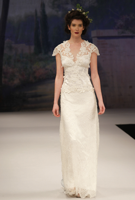 Capped sleeve Bridal Gown - CLAIRE PETTIBONE Belle