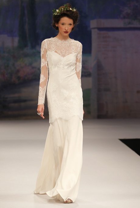 CLAIRE PETTIBONE 2012 Beau Monde Mademoiselle Wedding Dress with Illusion Neckline