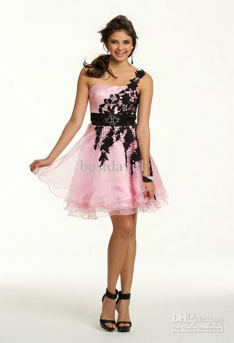 Cheap Pink And Black Party Dresses 98