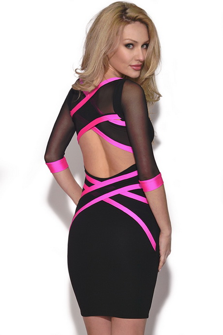 Cheap Pink And Black Party Dresses 103