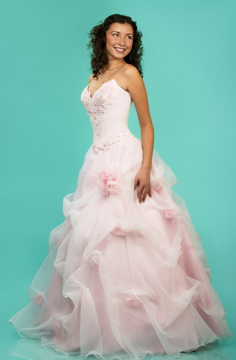 Pink and white wedding dresses for Wedding dresses white and pink