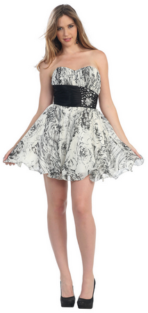Chiffon print strapless short prom dress- MQ865