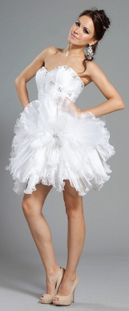 Short strapless party dress- S1003