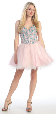 Hand beaded strapless sequins sassy homecoming dress- MQ926