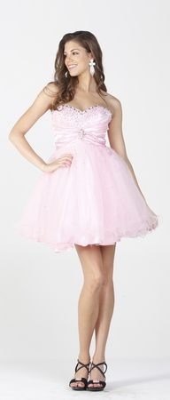 Strapless posh short sassy party dress- PY6568