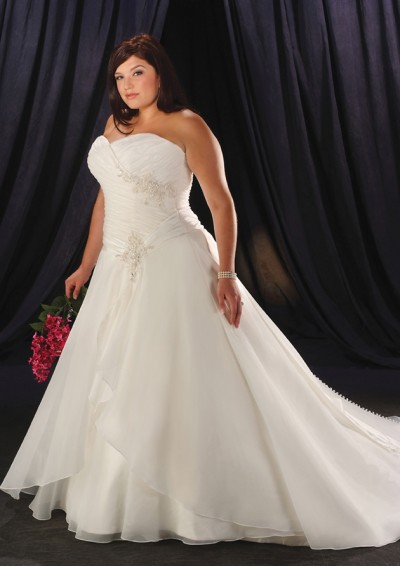 Organza Strapless Sweetheart Plus Size Wedding Gown UK1495