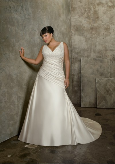 Satin V Neck Plus Size A Line Wedding Gown UK1199