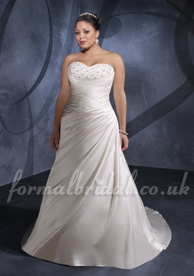 Chapel Train Satin Strapless Sweetheart 2012 Corset Plus Size Wedding Dress with Beading