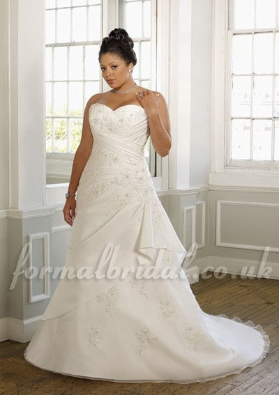 Chapel Train Satin Taffeta and Organza A-Line 2012 Plus Size Wedding Dress with Lace Appliques