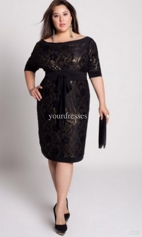 Plus Size Cocktail Dresses Black 40