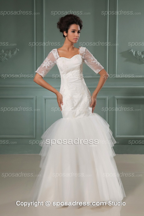 graceful mermaid short sleeves cheap wedding dress under 200