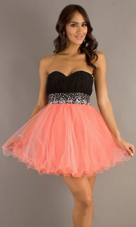 Short Poofy Black Coral Homecoming Dress Pleated Bodice Empire $135.99 ...