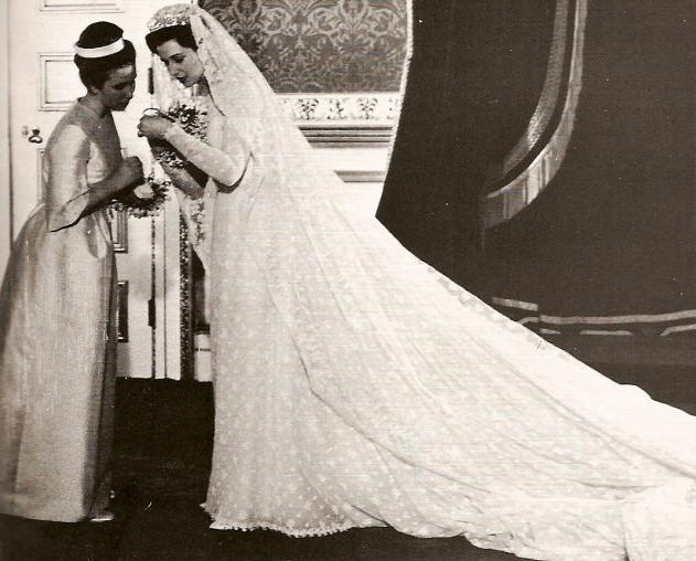 Princess Alexandra of Kent with Princess Anne her bridesmaid