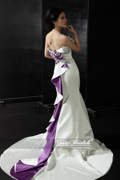 White Wedding Dress And Purple Shoes