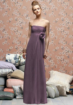 Elegant Chiffon Sheath Empire With Flower Bridesmaid Dress