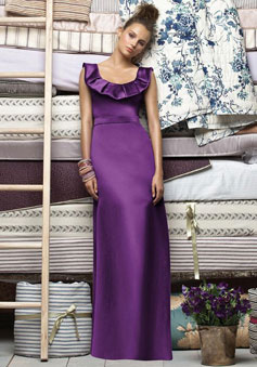 purple Scoop Pleated Neck Satin Sheath long Bridesmaid Dress