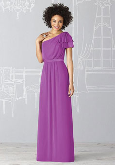 purple Ruffles One Shoulder Chiffon Short Sleeve Bridesmaid Dress