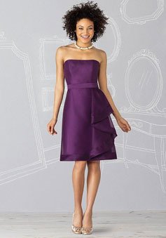 purple Grape Organza Side Draping Knee-length Bridesmaid Dress