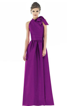 purple Bowknots Jewel Neck A-line Sleeveless Bridesmaid Dress