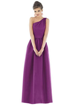 One Shoulder Purple Taffeta Sleeveless Bridesmaid Dress