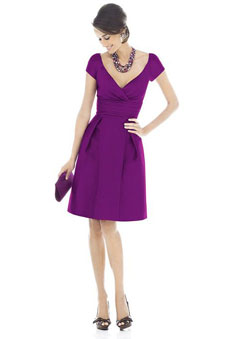 Purple Taffeta Low V-neck Knee-length Bridesmaid Dress
