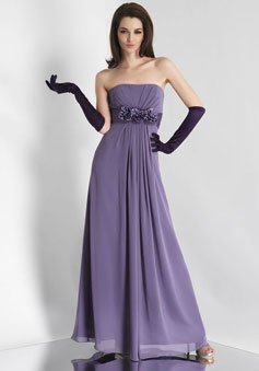 Strapless Chiffon pleated With Flowers Bridesmaid Dress