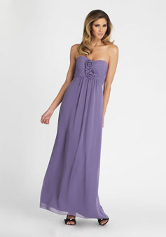 Chiffon Flowers Bodice Ankle-length Bridesmaid dress