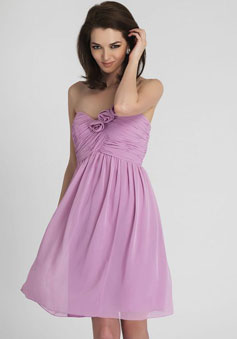 Lilac Chiffon A-line Flowers Empire pleated Bridesmaid Dress