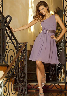 One Shoulder Lilac Chiffon Knee-length Bridesmaid Dress