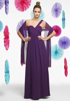 Purple A-line pleated One Shoulder Empire Bridesmaid Dress