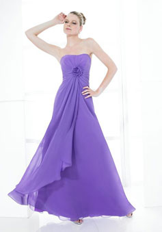 Purple Chiffon A-line Empire long Bridesmaid Dress