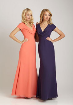 purple trendy cap sleeves Chiffon Cowl Neck long Bridesmaid Dress