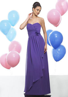 Purple Chiffon A-line Side Draping long Bridesmaid Dress