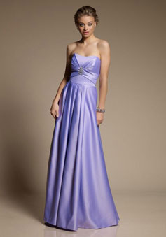 purple modern Satin A-line Ruching with brooch Bridesmaid Dress