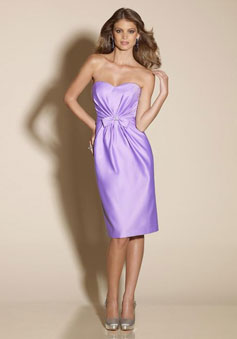 Satin Knee-Length pleated With Bowknot Bridesmaid Dress