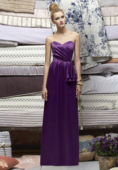 Sweetheart Satin Draping With Pleats long Bridesmaid Dress