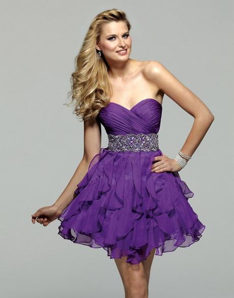 Beaded Ruffles Mini Purple Graduation Dress