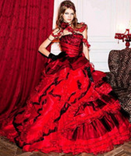 wedding dress a line red black bridal ball gown wedding gown r12