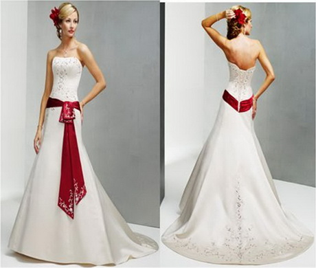 Red and white wedding gowns for Plus size red and white wedding dresses