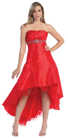 High low strapless beaded dress for all occasions- MQ576