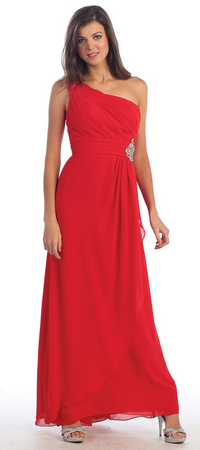 Long chiffon one shoulder strap bridesmaid dress- MQ942